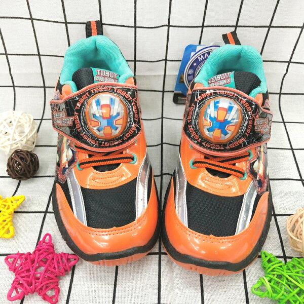 【巷子屋】TOBOT機器人-童款電燈運動休閒鞋[66318]橘MIT台灣製造超值價$200