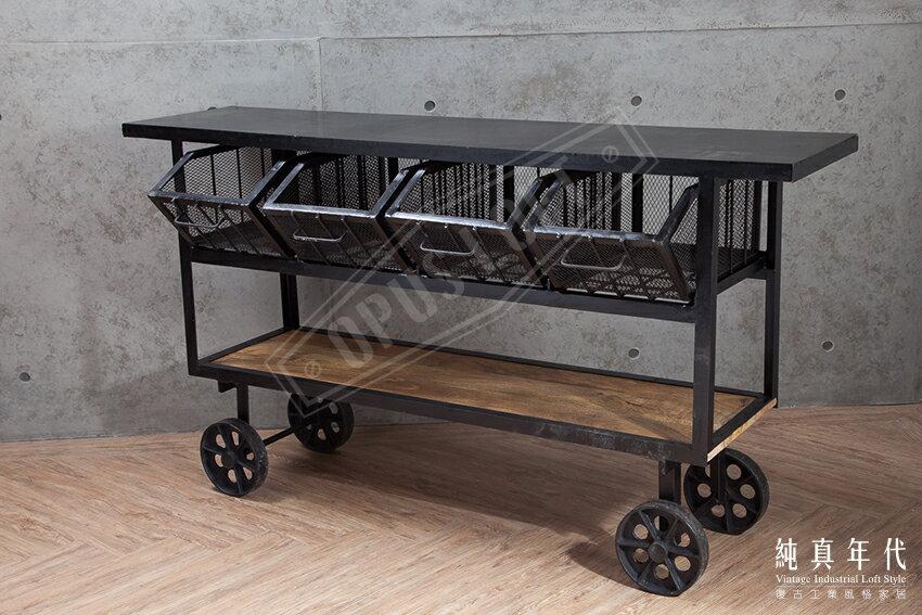 復古LOFT工業風 原木 鐵網 移動式 工作桌