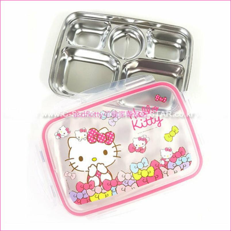 asdfkitty可愛家☆KITTY粉水玉樂扣型有蓋304不鏽鋼餐盤便當盒-韓國製