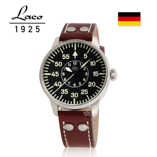 【完全計時】手錶館│Laco朗坤德國工藝Aachen軍事風格夜光飛行機械錶黑紅棕42mm(861690特惠79折)