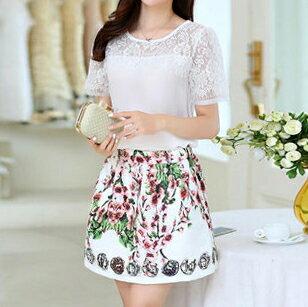 梅西蒂絲Mercedes Shop:《現貨出清5折》兩件式!韓國連線蕾絲上衣+短裙套裝-L-4XL-梅西蒂絲(現貨+預購)
