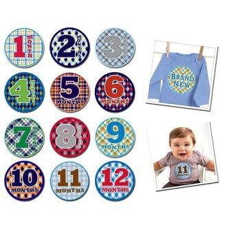 ★衛立兒生活館★美國Sticky Bellies 寶寶月份貼紙1-12M(時尚寶寶)