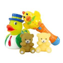 【888便利購】大隻黃色小鴨啾啾洗澡玩具+動物音樂手搖鈴(1114)