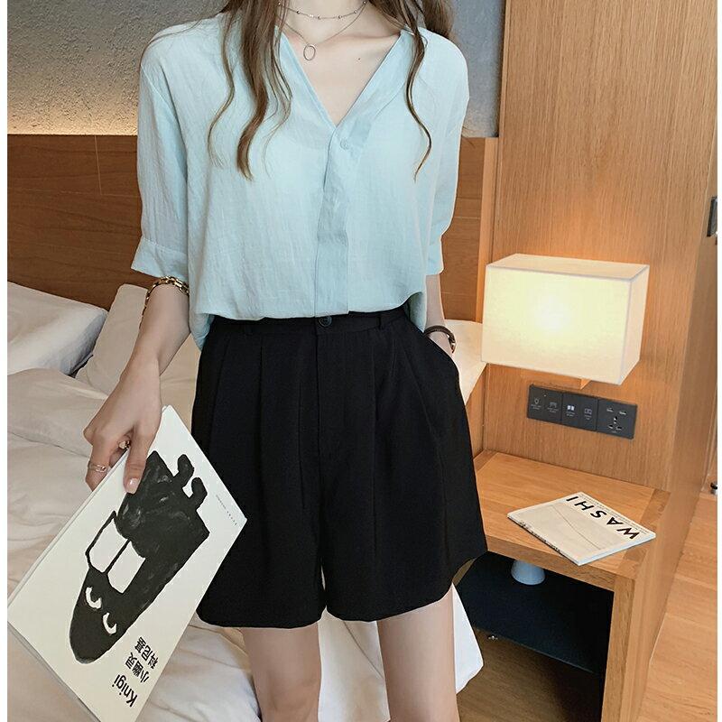 夏季新款時尚氣質白襯衫女設計感小眾上衣韓范短袖襯衣打底衫1入