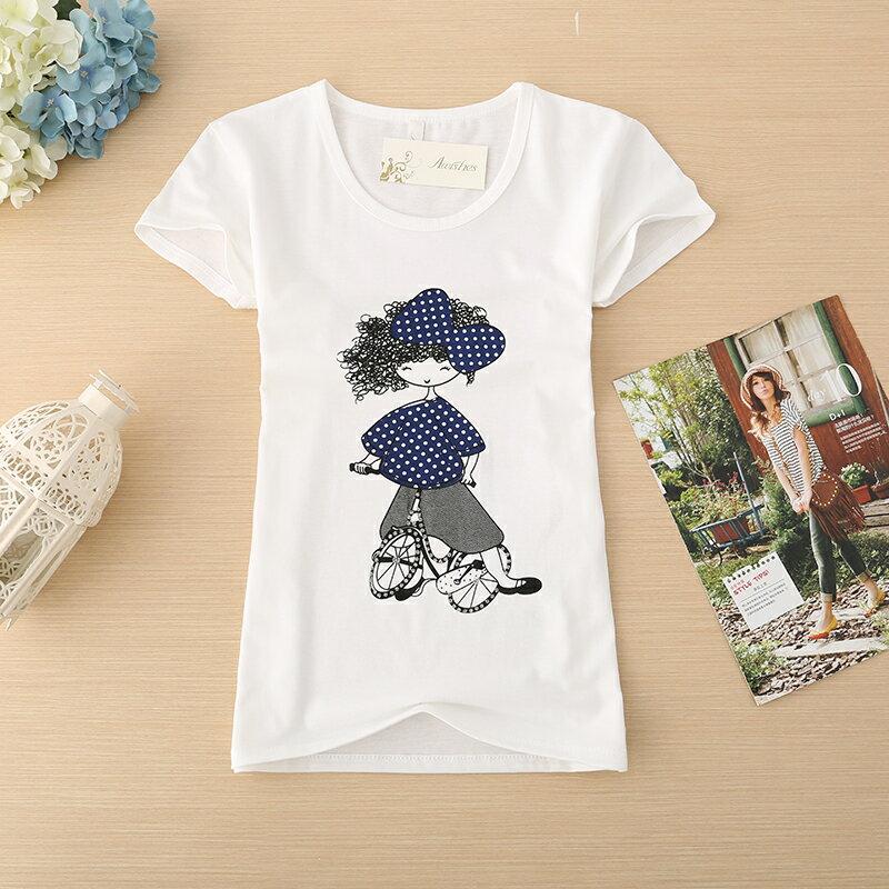 ~滿3件,一件150元~ 簡單 修身 女生 短袖 童書插畫女孩 棉T