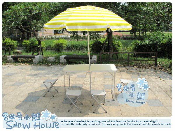╭☆雪之屋小舖☆╯@特價優惠@高級鋁合金折疊收納野餐桌椅組**一桌四椅+40吋海灘傘