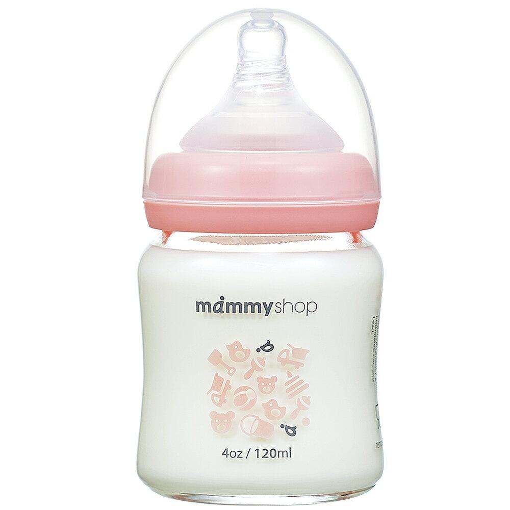 【麗嬰房】媽咪小站 母感體驗2.0 玻璃奶瓶-寬大口徑120ml(櫻花粉)