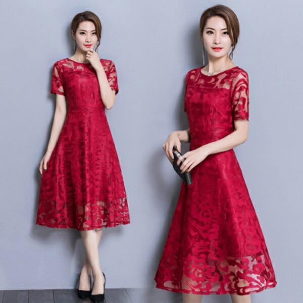 《全店75折》中大尺碼中國風改良旗袍氣質蕾絲短袖洋裝(M-3XL,3色)-梅西蒂絲(現貨+預購)