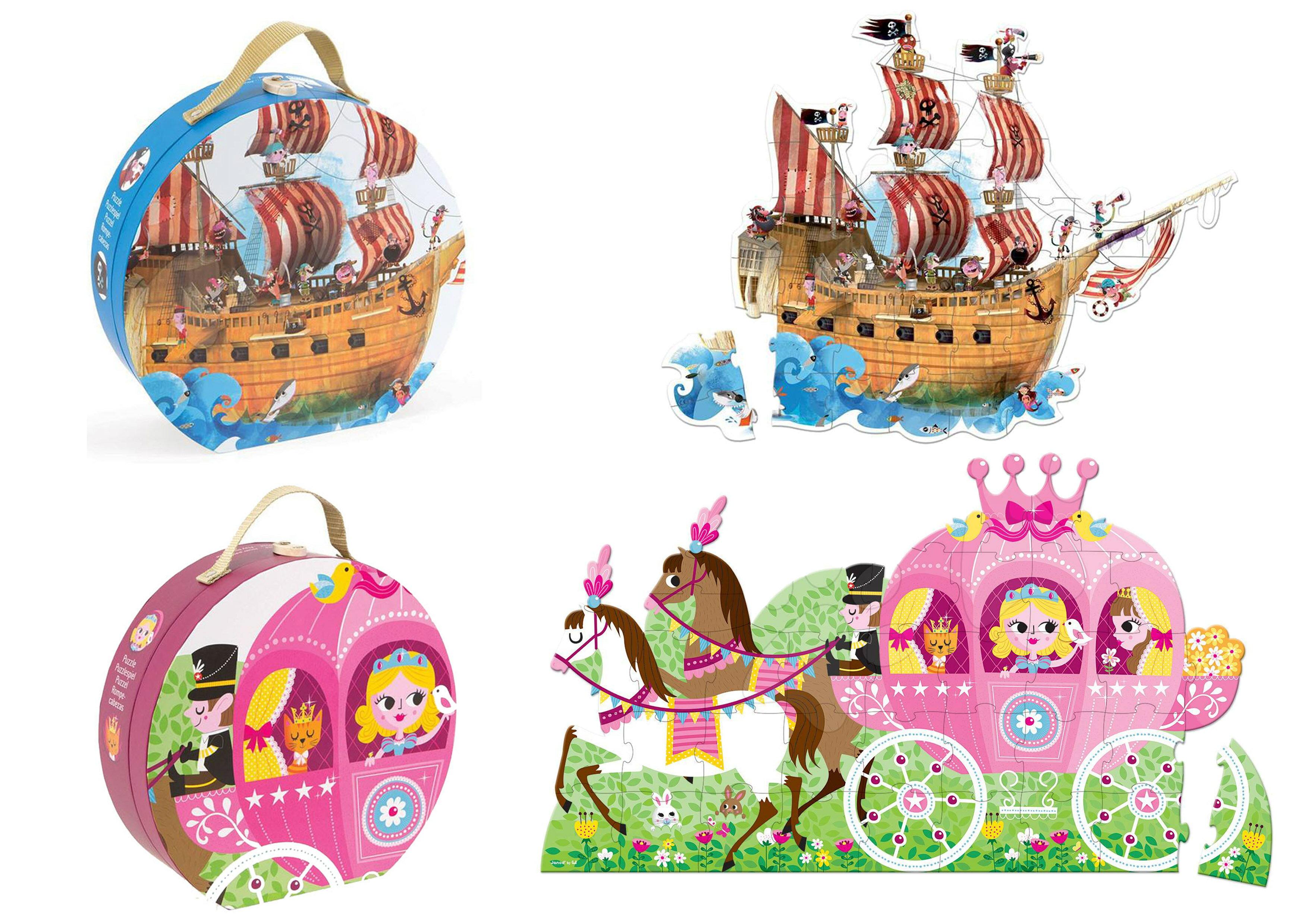 ~~法國Janod~地板大拼圖 39片精美手提 裝 ~ 公主與馬車或海盜船 美國 溫媽媽