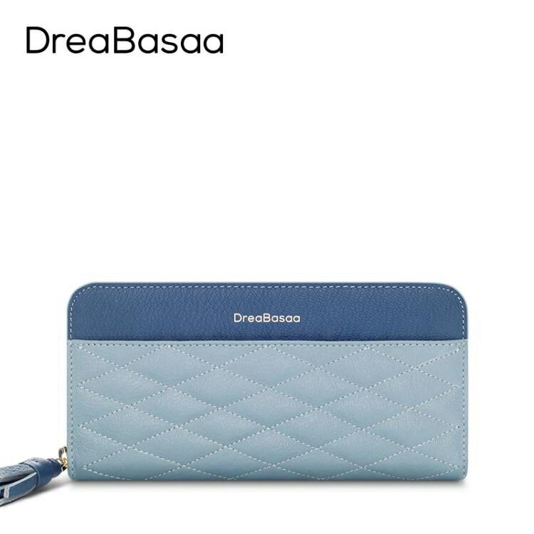 【快速出貨】長款錢包DreaBasaa錢包女長款真皮拉鏈簡約2020新款薄款潮歐美菱格手拿包 聖誕交換禮物