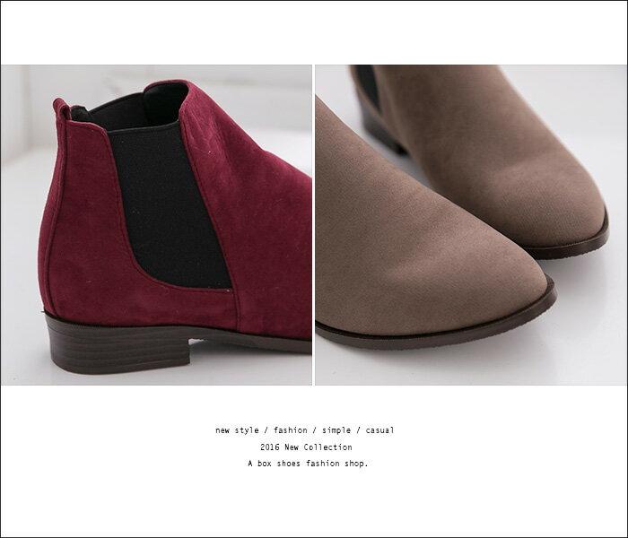 格子舖*【AA3779】MIT台灣製 百搭時尚單品 質感素面絨布 鬆緊帶粗低跟馬丁靴 短靴 短筒靴 3色 2