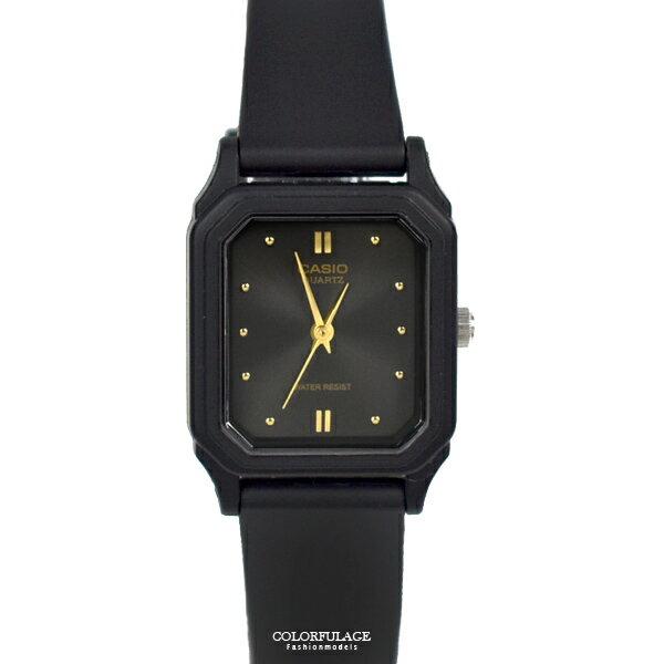 CASIO手錶 小巧方形黑金矽膠錶【NECA7】