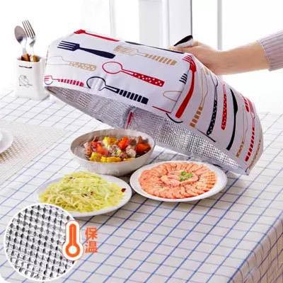 【加厚鋁箔保溫菜罩-大號-37*37*15cm-1套組】可折疊帶鋁箔熱菜保溫蓋-7201003