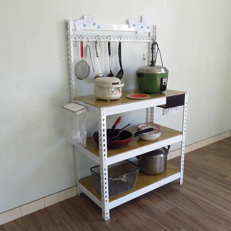 3尺白色廚房收納架 瀝水架 微波爐架 烤箱架 電器架 鐵架 置物架 廚房架 KRW2303【空間特工】