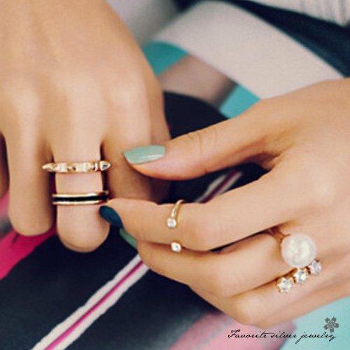 水鑽珍珠三件套戒指10113【櫻桃飾品】【10113】