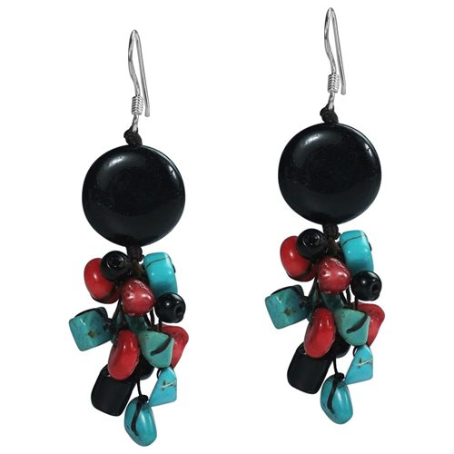 Cute Multi-Stone Black .925 Silver Cluster Earrings (Thailand) 0