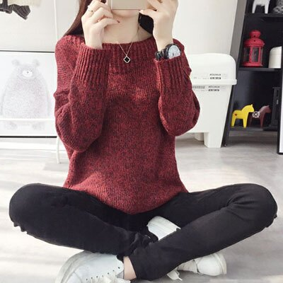 針織毛衣 領口一字織紋設計針織毛衣 4色【1500400】LYNNSHOP 4