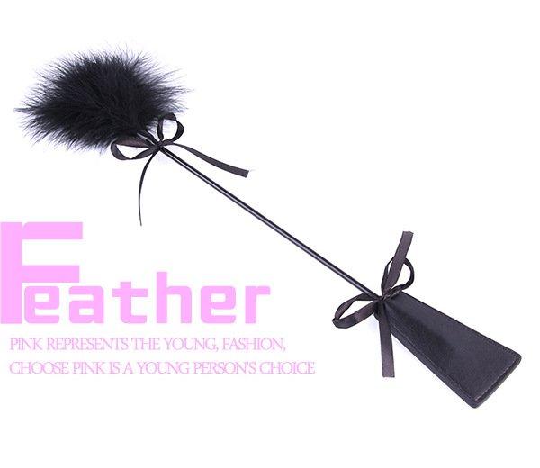 PB6130成人用品羽毛手黑色皮革羽毛情趣SM調情玩具角色扮演配件