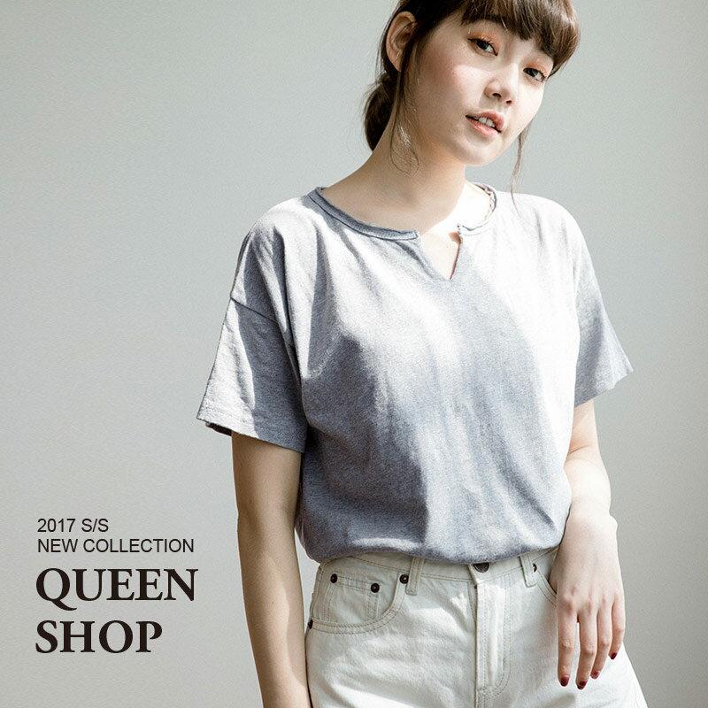 Queen Shop【01036122】小V領水洗棉上衣 三色售 特價品*預購*