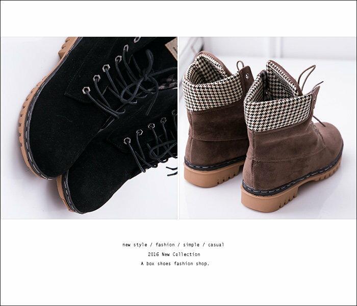 【KDLF2107】基本款經典流行 質感麂皮拼接格紋 繫帶個性百搭短筒靴 短靴 工作靴 3色 2