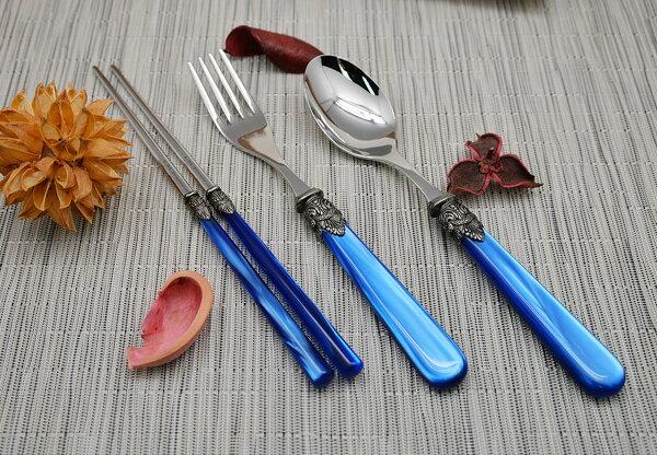 義大利EMENAPOLEON個人餐具3件組筷子叉匙-寶藍色