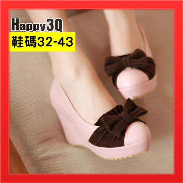 高跟鞋子女鞋43蝴蝶結淺口撞色坡跟32女鞋子大尺碼43-粉棕黑32-43【AAA3935】