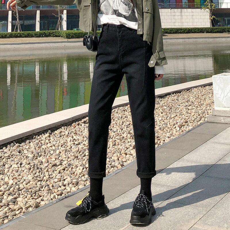 2020春夏新款黑色哈倫九分潮女褲寬鬆休閒顯瘦網紅情侶老爹牛仔褲