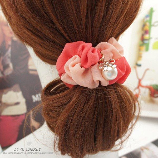 簡約甜美蝴蝶結珍珠髮束髮圈FQ0218【FQ0218】