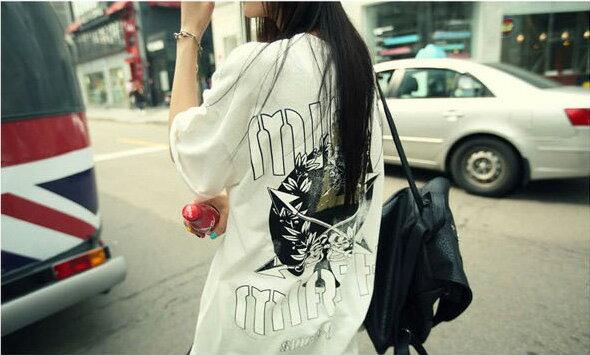韓版長版T恤 寬鬆骷髏圖案長版短袖T恤 艾爾莎【TQT0043】 1