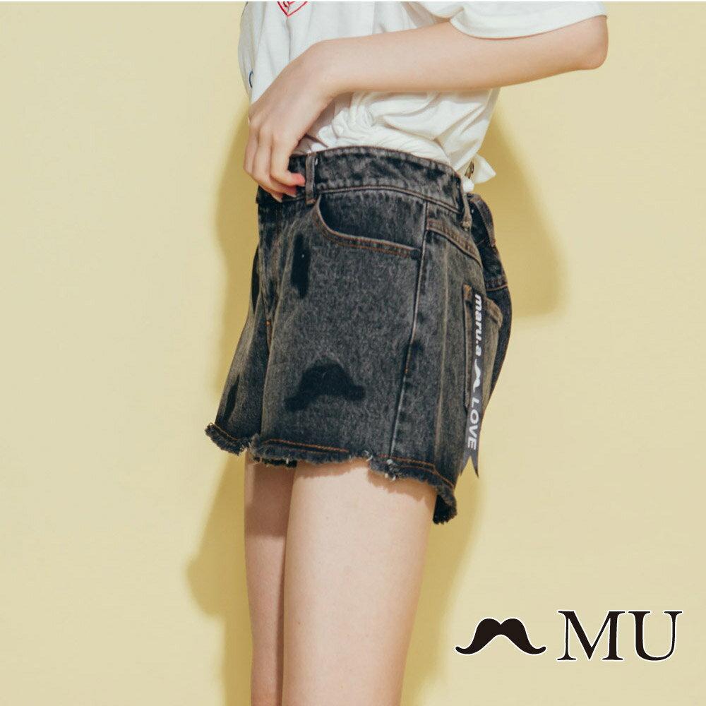 【MU】符號刷色抽鬚牛仔丹寧短褲(2色)8325161 4
