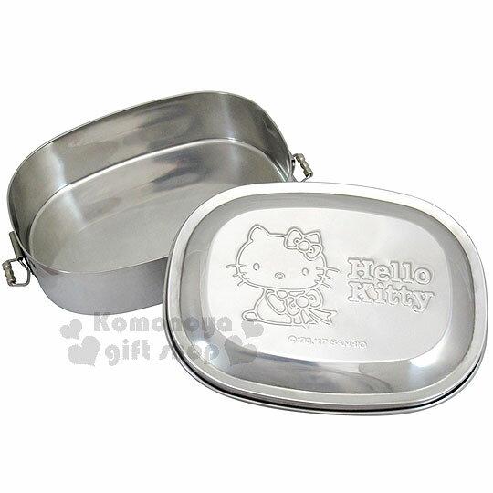 〔小禮堂〕Hello Kitty 不鏽鋼便當盒《銀.長型.坐姿.拿蝴蝶結》