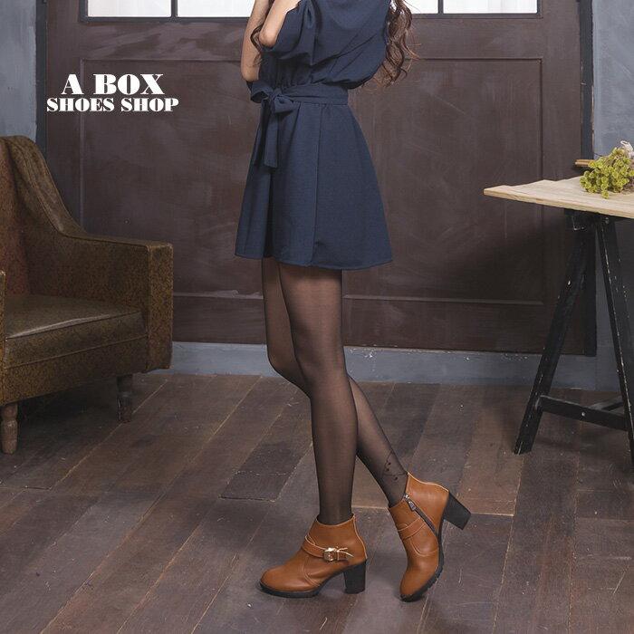 格子舖*【KD5103】MIT台灣製 摩登流行款 高質感素面皮革 金屬拉環內拉鍊 粗高跟短靴 3色 1
