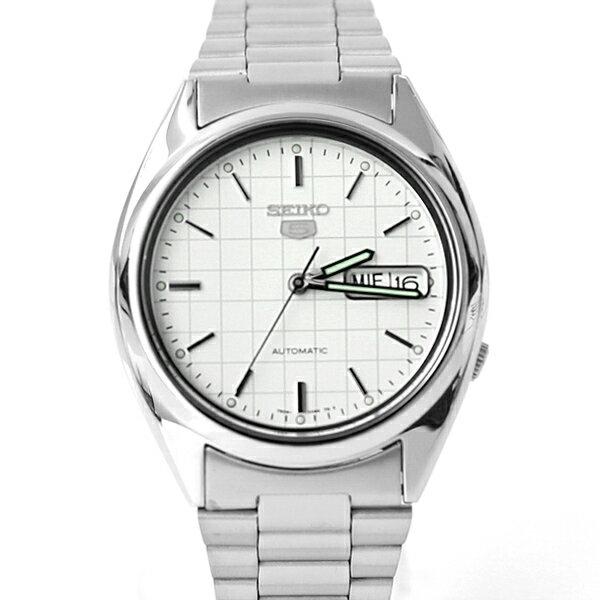 手錶 SEIKO白色格紋機械錶 【NES10】柒彩年代