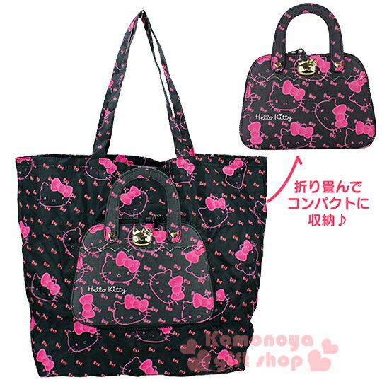 <br/><br/>  〔小禮堂〕Hello Kitty x DEARISIMO 提包造型環保購物袋《黑.大臉.蝴蝶結滿版》<br/><br/>