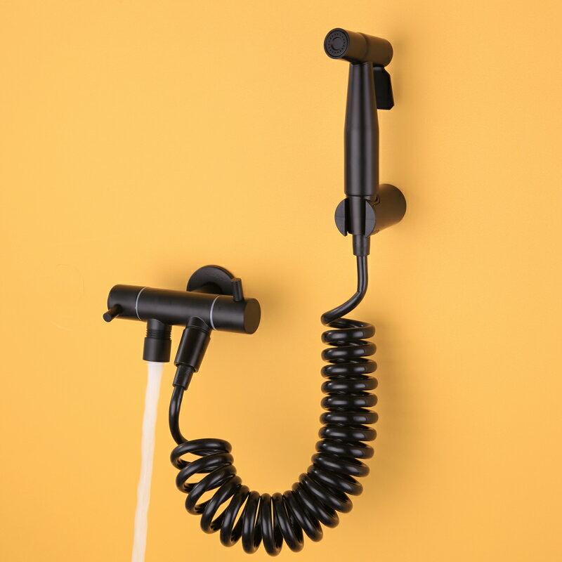 馬桶噴槍 黑色馬桶伴侶噴槍水龍頭增壓沖洗廁所高壓清洗噴頭衛生間婦洗器『XY20756』