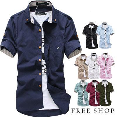 《Free Shop》Free Shop【QTJ282】韓版簡約蘑菇刺繡條紋內襯木釦牛津襯衫短袖襯衫‧九色 有大尺碼