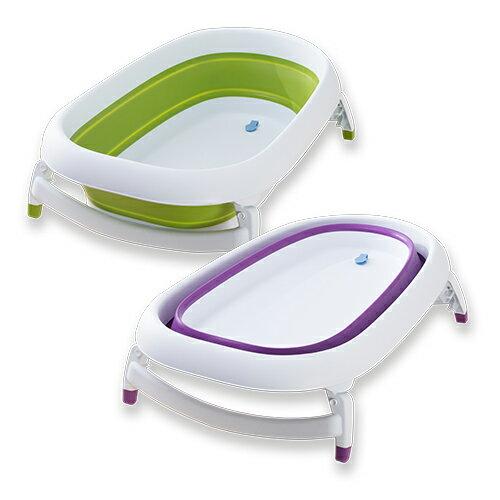 嘉嬰寶KARIBU折疊式澡盆浴盆+浴網(綠色紫色)★衛立兒生活館★