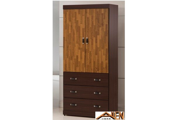亞倫傢俱*卡恩胡桃木色3*7尺衣櫥
