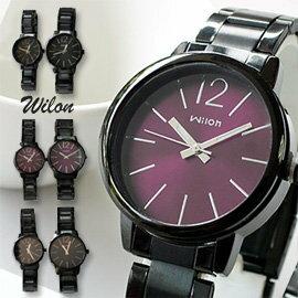 Wilon威龍 937激似CK款 玻璃夾心黑色鐵帶中性對錶