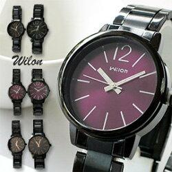 Wilon威龍 937激似CK款 玻璃夾心黑色鐵帶中性對錶 男生聖誕交換禮物