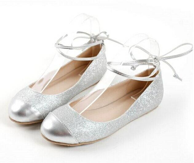 日系公主芭蕾舞腳腕綁帶平跟平底娃娃女鞋 銀 32~43 ~no~40508098309~