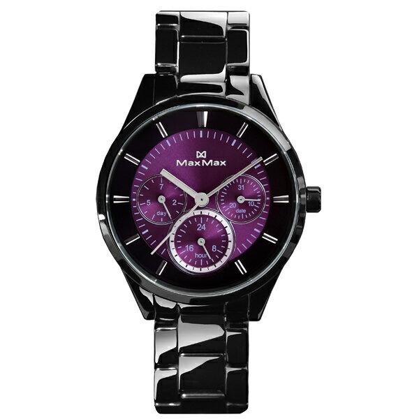 MaxMaxMAS70063J-2時尚陶瓷腕表-黑紫35mm