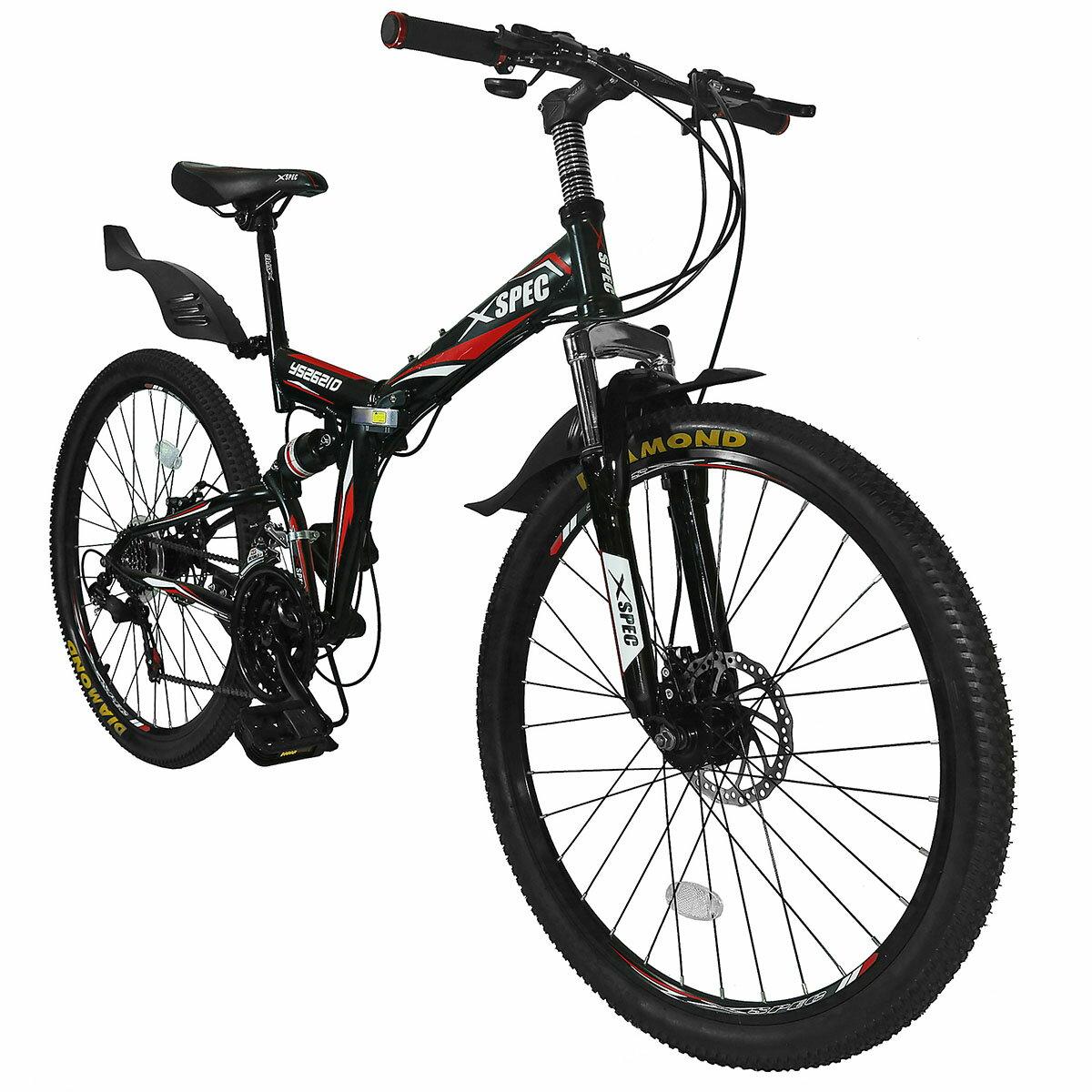 "Xspec 26"" 21 Speed Folding Mountain Bike Bicycle Trail Commuter Shimano Black 0"