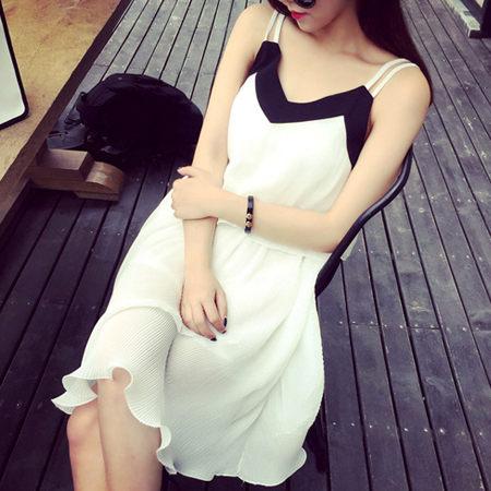 SISI【D6145】氣質浪漫拼色滾邊雙細肩吊帶縮腰顯瘦百褶裙襬雪紡連身裙洋裝