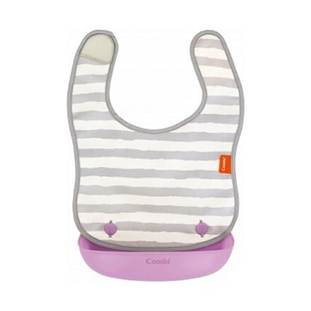 【悅兒樂婦幼用品?】Combi 康貝 Baby Label 新防污口袋圍兜 (紫斑馬)