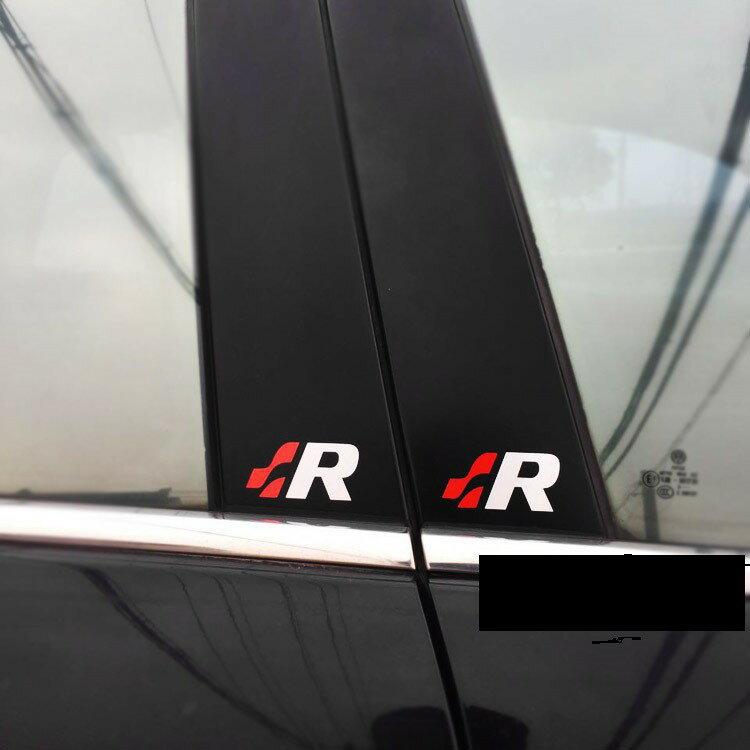 現貨發出通用 中柱貼 A柱貼 B柱貼R標貼紙B柱貼紙汽車改裝貼紙VW高爾夫7 本田 喜美 GK5 GE8