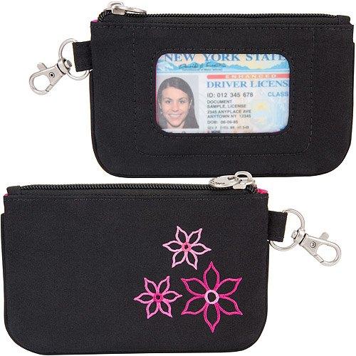 《TRAVELON》Bouquet繡花拉鍊防護零錢包(黑)