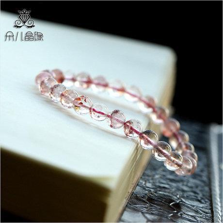 草莓手鏈 女 晶石 透體 高檔稀有品種