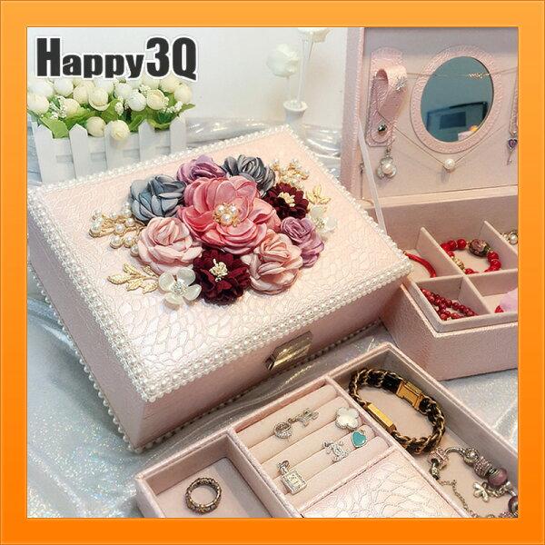 歐式帶鎖首飾盒飾品盒碎花女生首飾品盒花朵飾品收納-粉桃【AAA4444】
