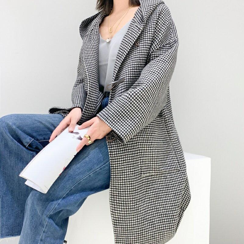 毛呢大衣羊毛外套-長版牛角扣大口袋連帽女外套2色73wb43【獨家進口】【米蘭精品】 0